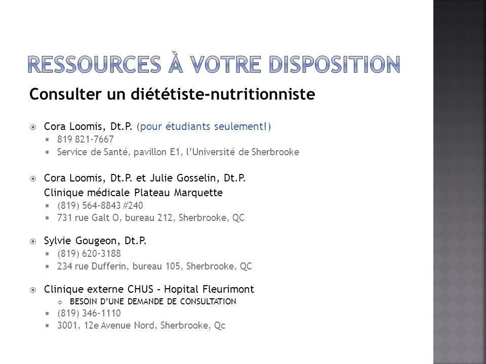 Consulter un diététiste-nutritionniste Cora Loomis, Dt.P. (pour étudiants seulement!) 819 821-7667 Service de Santé, pavillon E1, lUniversité de Sherb