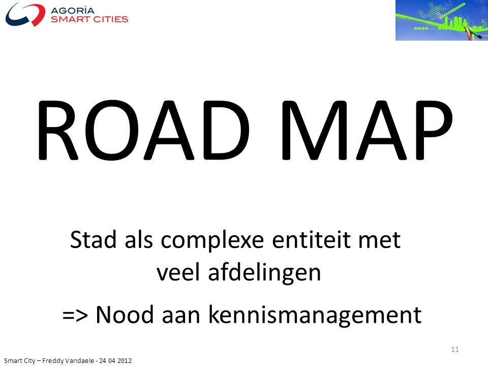 Smart City – Freddy Vandaele - 24 04 2012 ROAD MAP 11 => Nood aan kennismanagement Stad als complexe entiteit met veel afdelingen