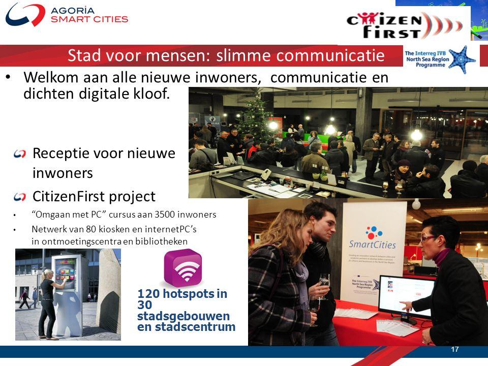 Stad voor mensen: slimme communicatie Receptie voor nieuwe inwoners CitizenFirst project Omgaan met PC cursus aan 3500 inwoners Netwerk van 80 kiosken