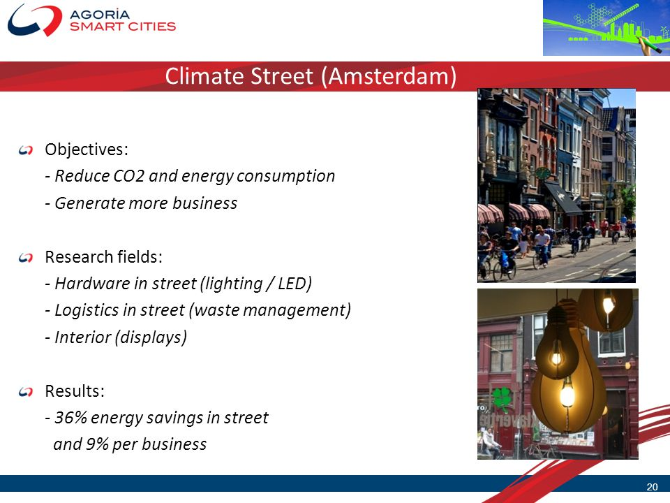 Climate Street (Amsterdam) 20 Objectives: - Reduce CO2 and energy consumption - Generate more business Research fields: - Hardware in street (lighting