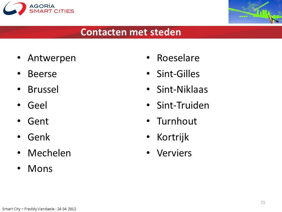 Smart City – Freddy Vandaele - 24 04 2012 Antwerpen Beerse Brussel Geel Gent Genk Mechelen Mons Roeselare Sint-Gilles Sint-Niklaas Sint-Truiden Turnho