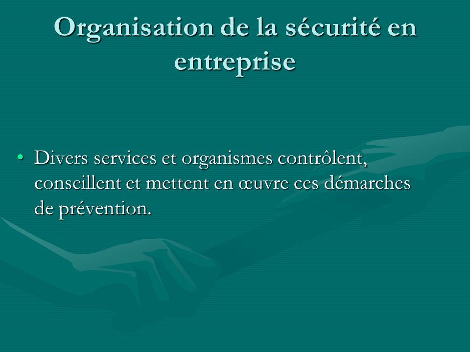 Organisation de la sécurité en entreprise Divers services et organismes contrôlent, conseillent et mettent en œuvre ces démarches de prévention.Divers