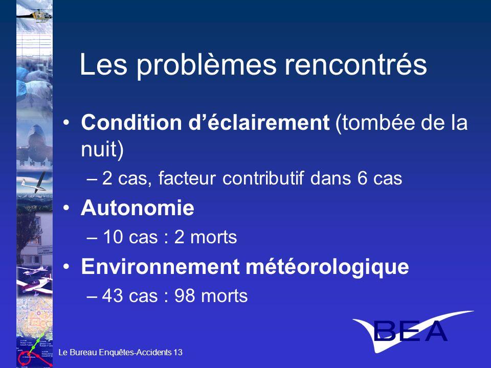 Le Bureau Enquêtes-Accidents 13 Les problèmes rencontrés Condition déclairement (tombée de la nuit) –2 cas, facteur contributif dans 6 cas Autonomie –