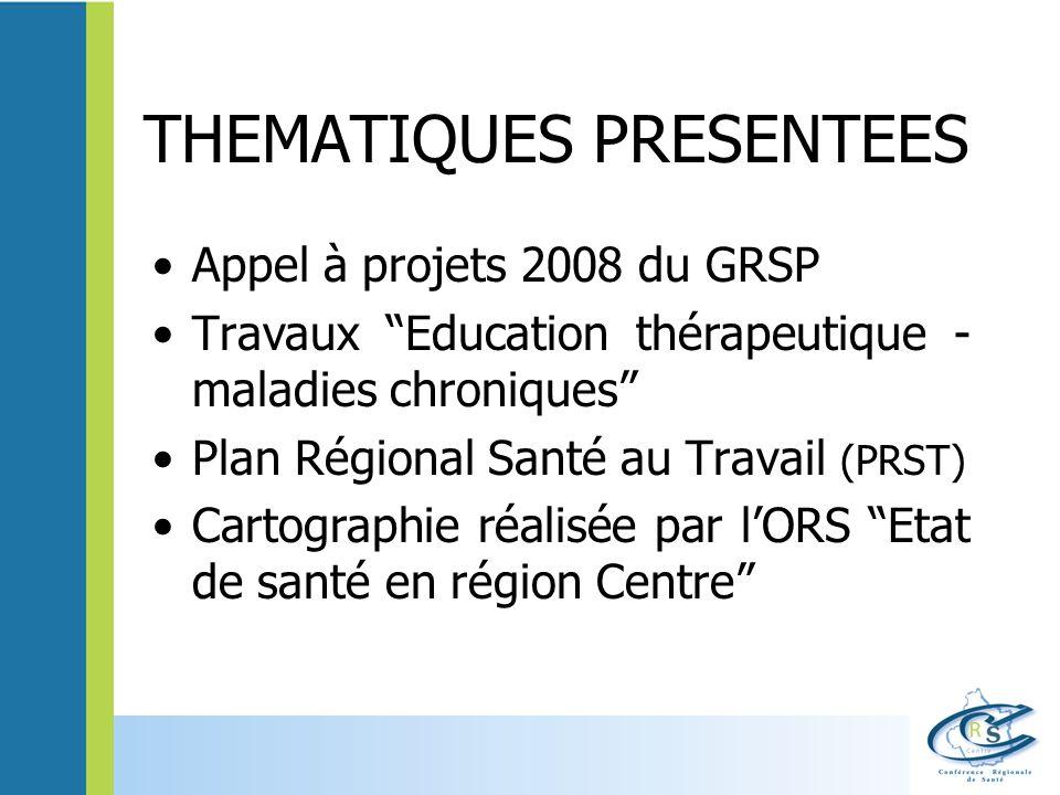 THEMATIQUES PRESENTEES Appel à projets 2008 du GRSP Travaux Education thérapeutique - maladies chroniques Plan Régional Santé au Travail (PRST) Cartog