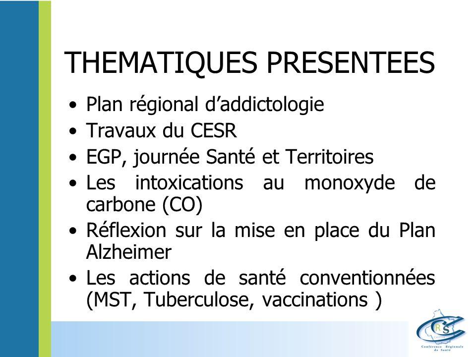 THEMATIQUES PRESENTEES Plan régional daddictologie Travaux du CESR EGP, journée Santé et Territoires Les intoxications au monoxyde de carbone (CO) Réf