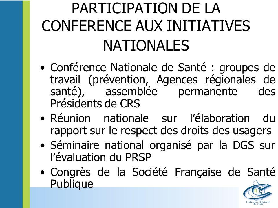 PARTICIPATION DE LA CONFERENCE AUX INITIATIVES NATIONALES Conférence Nationale de Santé : groupes de travail (prévention, Agences régionales de santé)