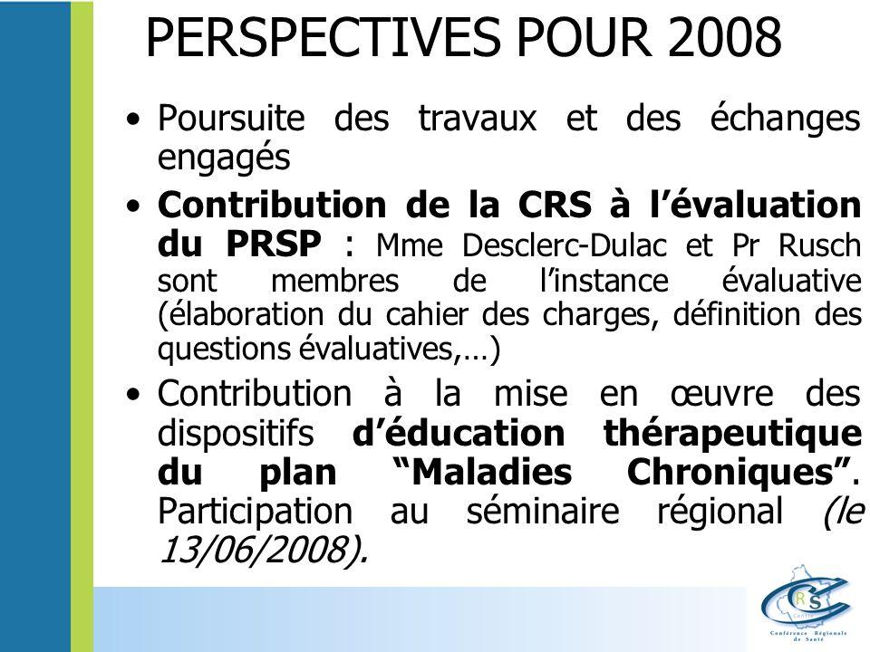 PERSPECTIVES POUR 2008 Poursuite des travaux et des échanges engagés Contribution de la CRS à lévaluation du PRSP : Mme Desclerc-Dulac et Pr Rusch son