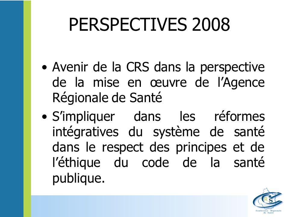 PERSPECTIVES 2008 Avenir de la CRS dans la perspective de la mise en œuvre de lAgence Régionale de Santé Simpliquer dans les réformes intégratives du système de santé dans le respect des principes et de léthique du code de la santé publique.