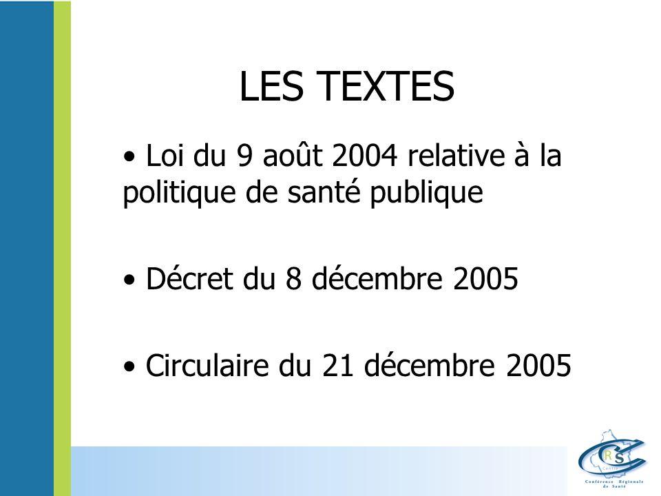 LES TEXTES Loi du 9 août 2004 relative à la politique de santé publique Décret du 8 décembre 2005 Circulaire du 21 décembre 2005
