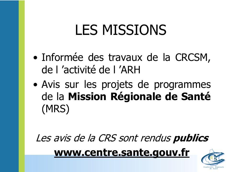 LES MISSIONS Informée des travaux de la CRCSM, de l activité de l ARH Avis sur les projets de programmes de la Mission Régionale de Santé (MRS) Les av