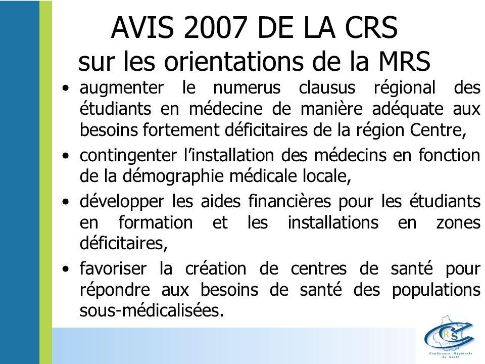 AVIS 2007 DE LA CRS sur les orientations de la MRS augmenter le numerus clausus régional des étudiants en médecine de manière adéquate aux besoins for