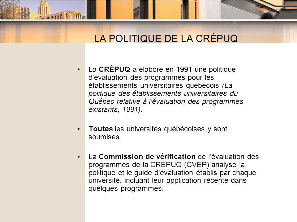 LA POLITIQUE DE LA CRÉPUQ La CRÉPUQ a élaboré en 1991 une politique dévaluation des programmes pour les établissements universitaires québécois (La politique des établissements universitaires du Québec relative à lévaluation des programmes existants, 1991).
