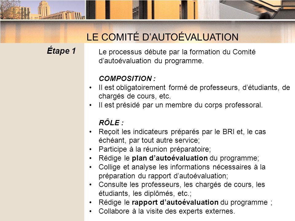 Le processus débute par la formation du Comité dautoévaluation du programme.