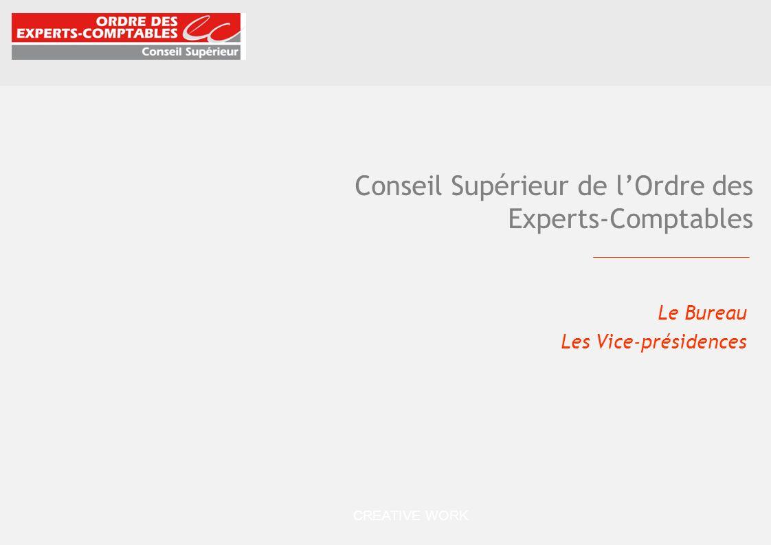 CREATIVE WORK Conseil Supérieur de lOrdre des Experts-Comptables Le Bureau Les Vice-présidences