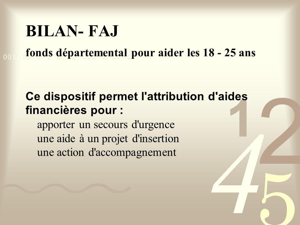 BILAN- FAJ fonds départemental pour aider les 18 - 25 ans Ce dispositif permet l attribution d aides financières pour : apporter un secours d urgence une aide à un projet d insertion une action d accompagnement