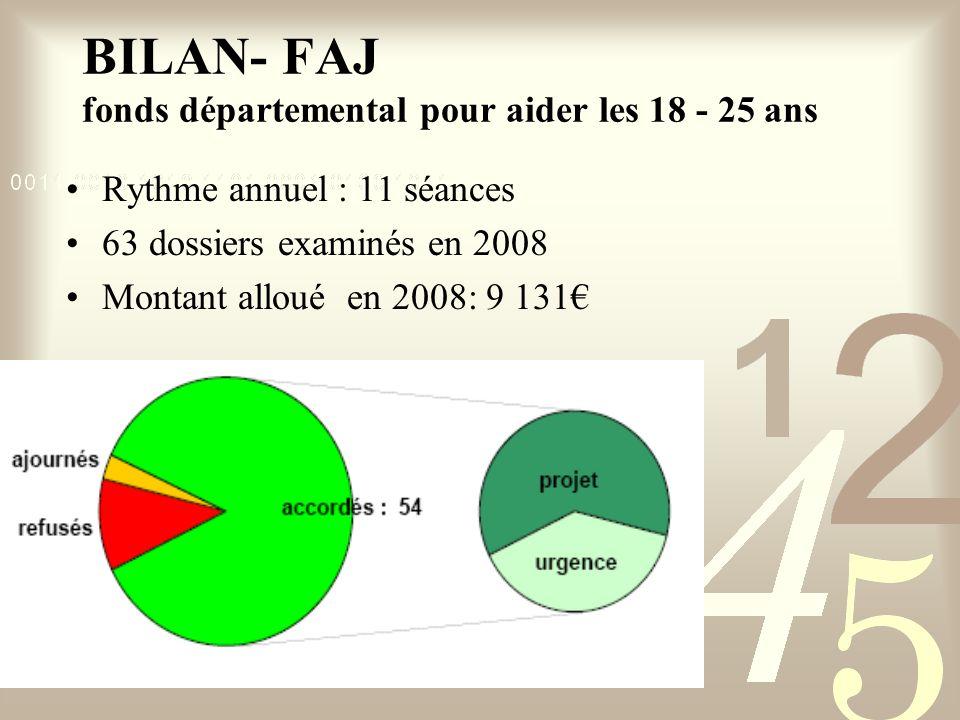 Rythme annuel : 11 séances 63 dossiers examinés en 2008 Montant alloué en 2008: 9 131 BILAN- FAJ fonds départemental pour aider les 18 - 25 ans