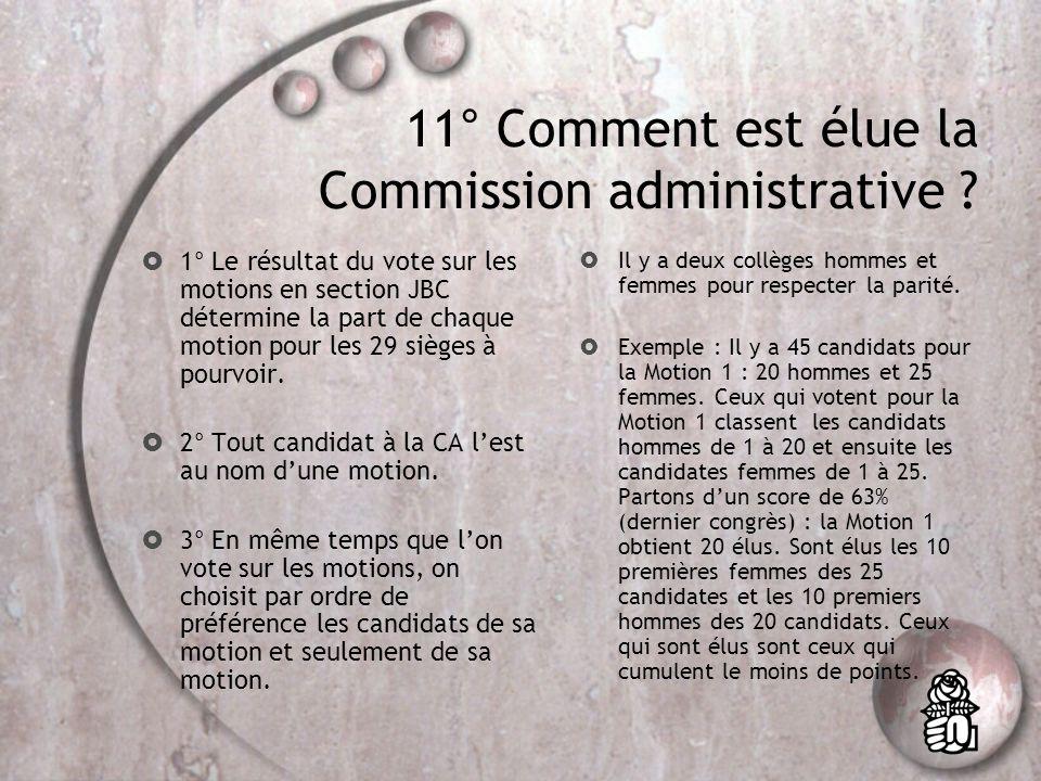 10° Quels sont les effets du vote du 9 novembre ? Au niveau de la section: élection directe des membres de la CA par classement préférentiel sur la ba