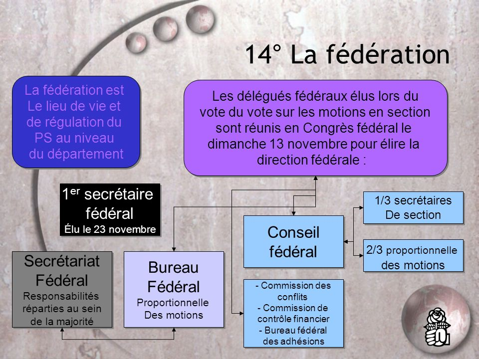 13° La section Unité de base du PS, cest le lieu où se réunissent les adhérents et où ils votent pour élire : Le(la) secrétaire de section élu au scru