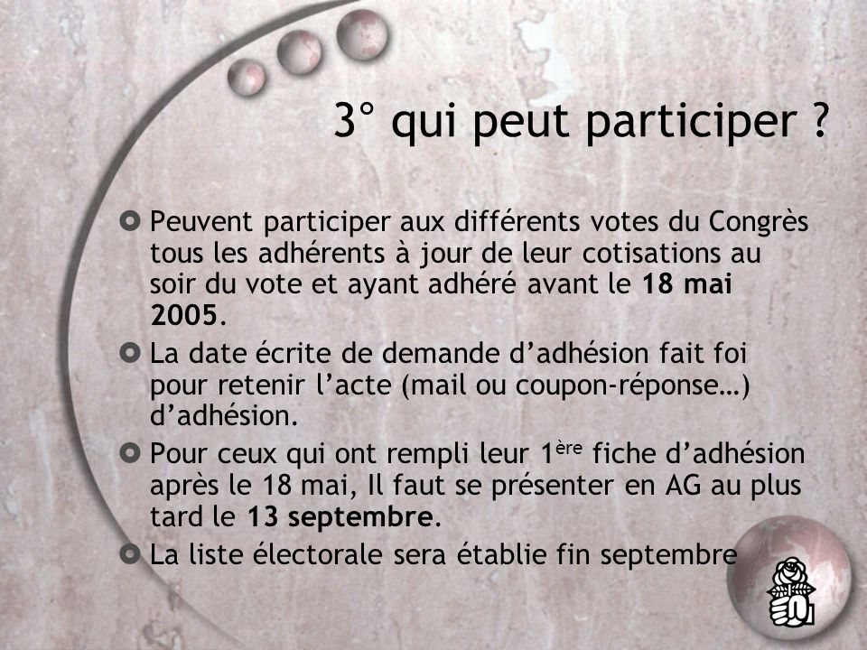2° Lexique de base pour suivre le congrès CA : commission administrative CF : conseil fédéral BF : bureau fédéral SF : secrétariat fédéral CFC : commission fédérale des conflits CFCF : commission fédérale de contrôle financier BFA : bureau f é d é ral des adh é sions CN : Conseil national BN : Bureau national SN : Secrétariat national CNC : Commission nationale des conflits CNCF : Commission nationale de contrôle financier BNA : bureau national des adhésions.