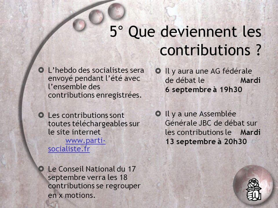 4° Quest-ce quune contribution ? Les contributions sont des textes qui permettent damorcer le débat du Congrès mais sur lesquels les adhérents ne vote