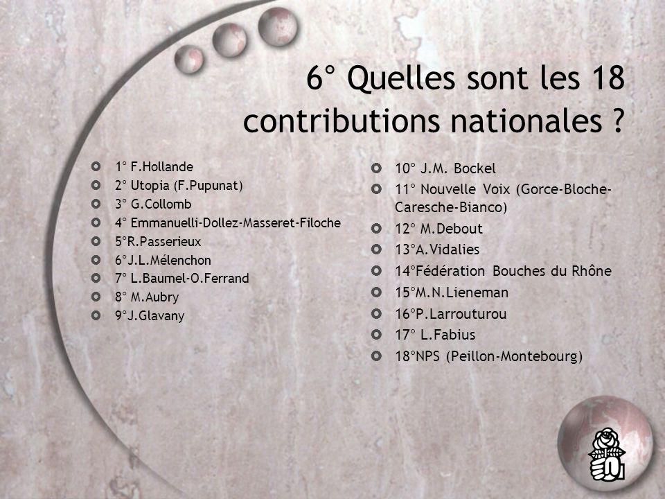 6° Quelles sont les 18 contributions nationales .