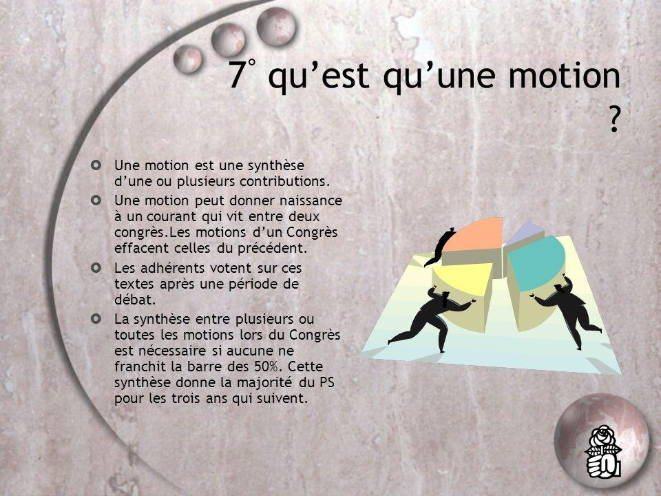 7 ° quest quune motion .Une motion est une synthèse dune ou plusieurs contributions.