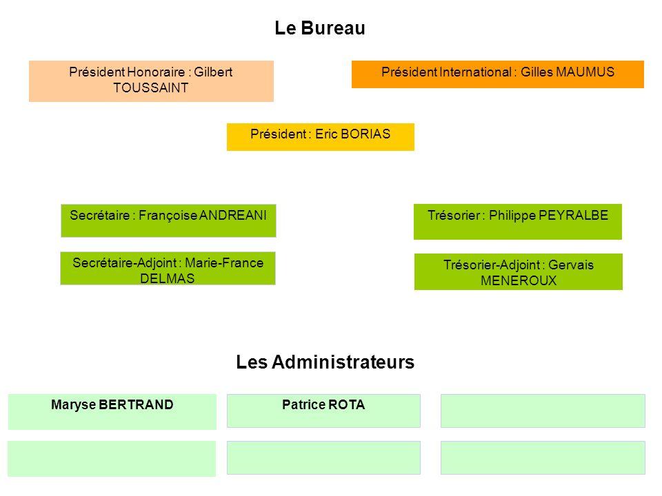 Le Bureau Secrétaire : Françoise ANDREANI Président : Eric BORIAS Trésorier : Philippe PEYRALBE Président International : Gilles MAUMUSPrésident Honor