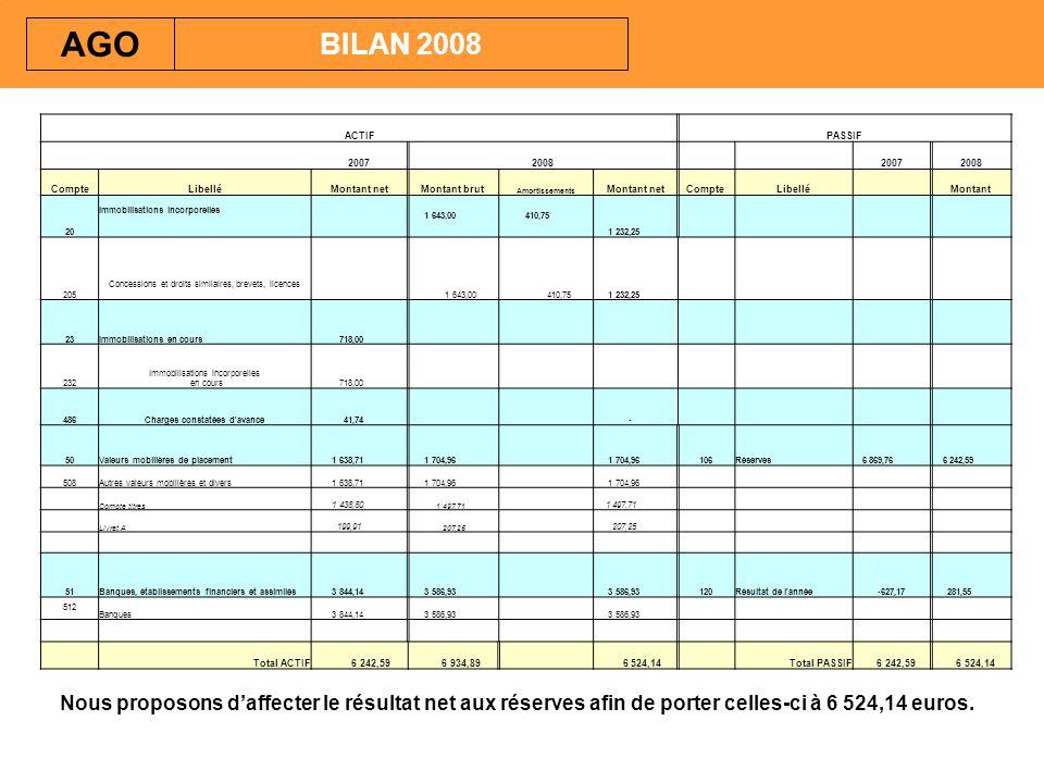 Nous proposons daffecter le résultat net aux réserves afin de porter celles-ci à 6 524,14 euros. BILAN 2008 AGO ACTIFPASSIF 20072008 20072008 CompteLi