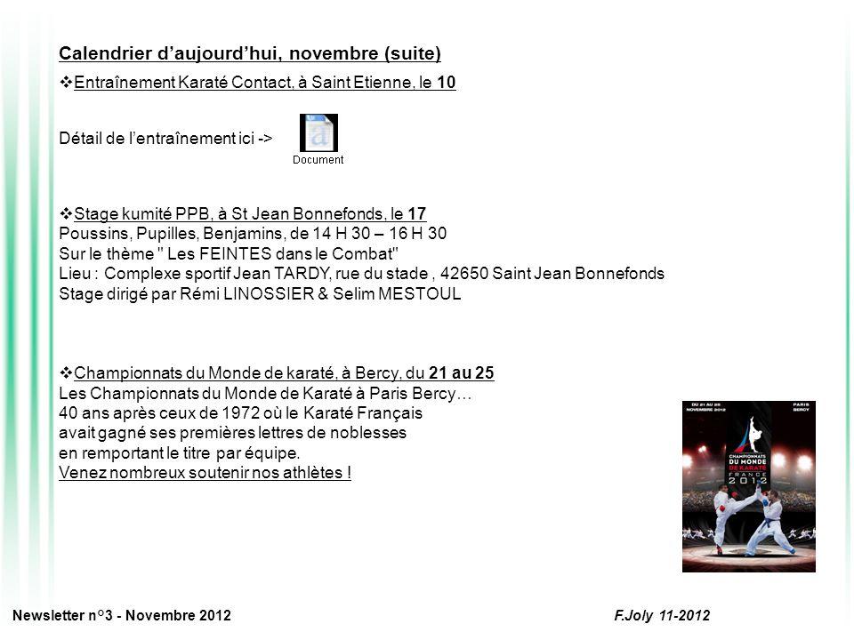 Les pages Commissions : CODG de la Loire Vous trouverez ci-dessous le programme de la saison sportive 2012-2013 : 3 Informations : le 13 octobre, le 26 janvier et le 11 mai, par P.Corneloup, Responsable de la CODG 3 passages de grades : le 23 décembre (Roanne), le 17 mars (Firminy) et le 23 juin (Montbrison) La date butoir denvoi des inscriptions pour le passage de décembre est fixée au : 23 novembre Dossier complet à envoyer au siège du Comité Départemental La feuille dinscription départementale au 1 e dan -> Newsletter n°3 - Novembre 2012 F.Joly 11-2012