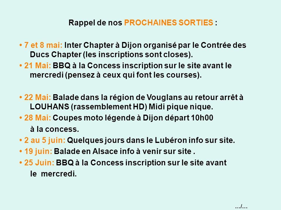 Rappel de nos PROCHAINES SORTIES : 7 et 8 mai: Inter Chapter à Dijon organisé par le Contrée des Ducs Chapter (les inscriptions sont closes). 21 Mai: