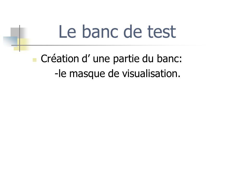 Le banc de test Création d une partie du banc: -le masque de visualisation.