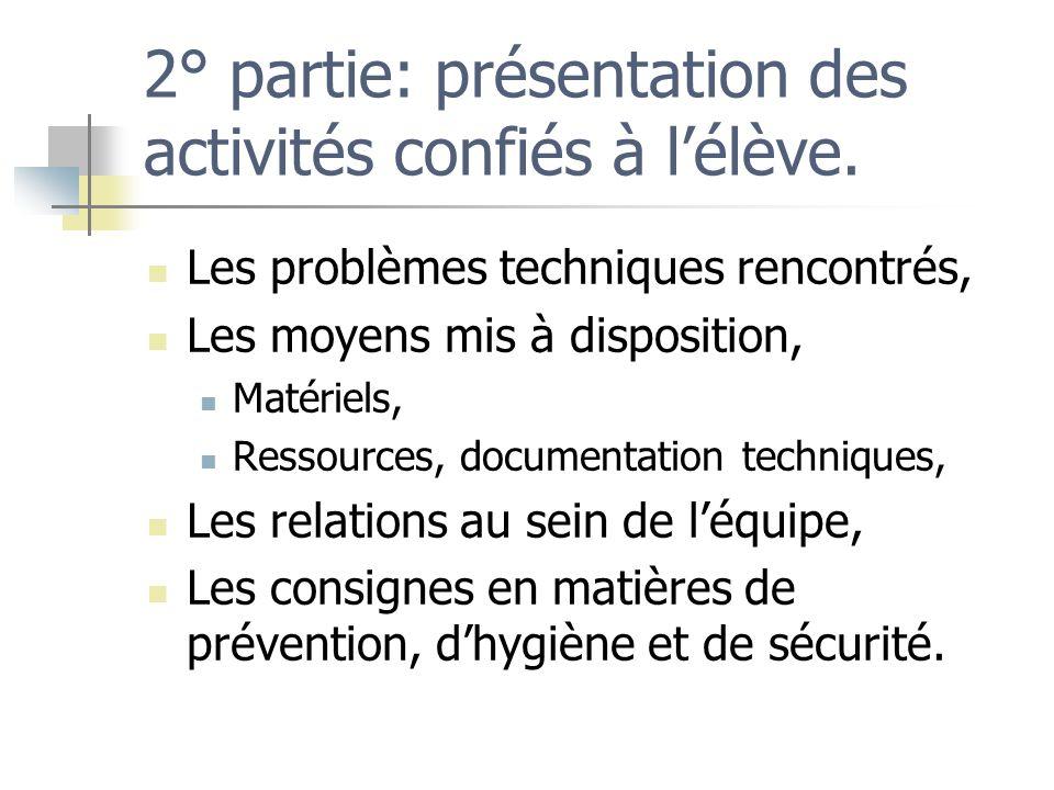 2° partie: présentation des activités confiés à lélève. Les problèmes techniques rencontrés, Les moyens mis à disposition, Matériels, Ressources, docu