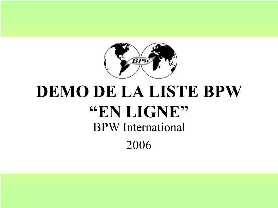 DEMO DE LA LISTE BPW EN LIGNE BPW International 2006