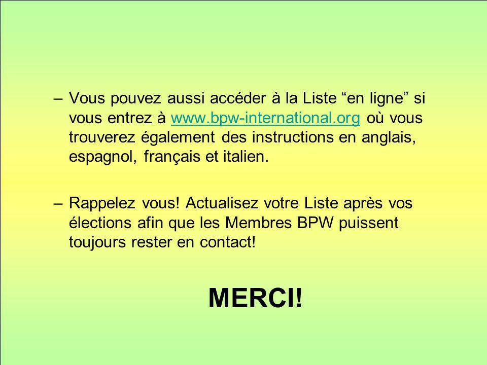 –Vous pouvez aussi accéder à la Liste en ligne si vous entrez à www.bpw-international.org où vous trouverez également des instructions en anglais, espagnol, français et italien.www.bpw-international.org –Rappelez vous.