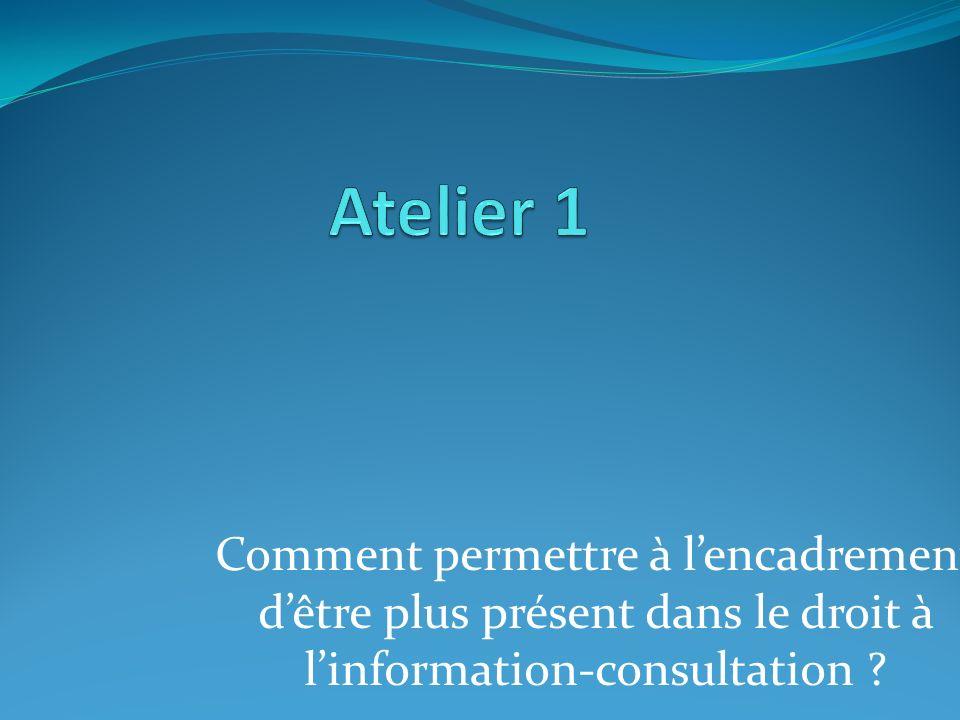 Comment permettre à lencadrement dêtre plus présent dans le droit à linformation-consultation ?