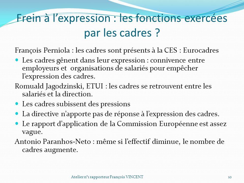 Frein à lexpression : les fonctions exercées par les cadres ? François Perniola : les cadres sont présents à la CES : Eurocadres Les cadres gênent dan
