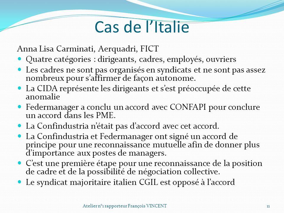 Cas de lItalie Anna Lisa Carminati, Aerquadri, FICT Quatre catégories : dirigeants, cadres, employés, ouvriers Les cadres ne sont pas organisés en syn