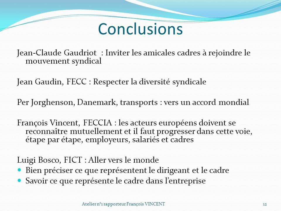 Conclusions Jean-Claude Gaudriot : Inviter les amicales cadres à rejoindre le mouvement syndical Jean Gaudin, FECC : Respecter la diversité syndicale