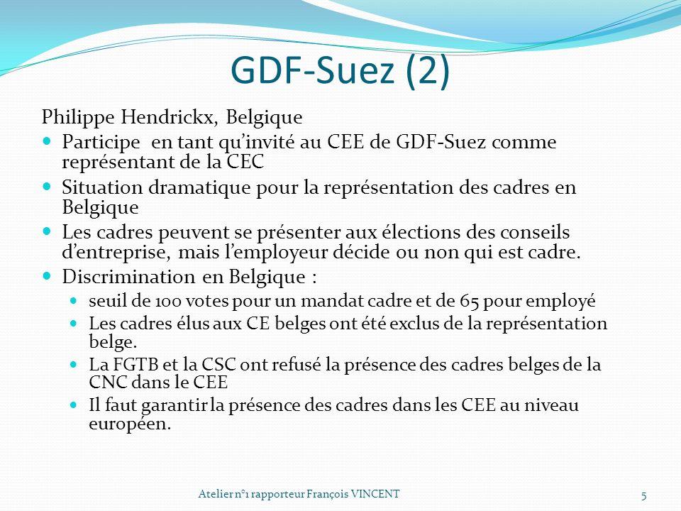 GDF-Suez (2) Philippe Hendrickx, Belgique Participe en tant quinvité au CEE de GDF-Suez comme représentant de la CEC Situation dramatique pour la repr