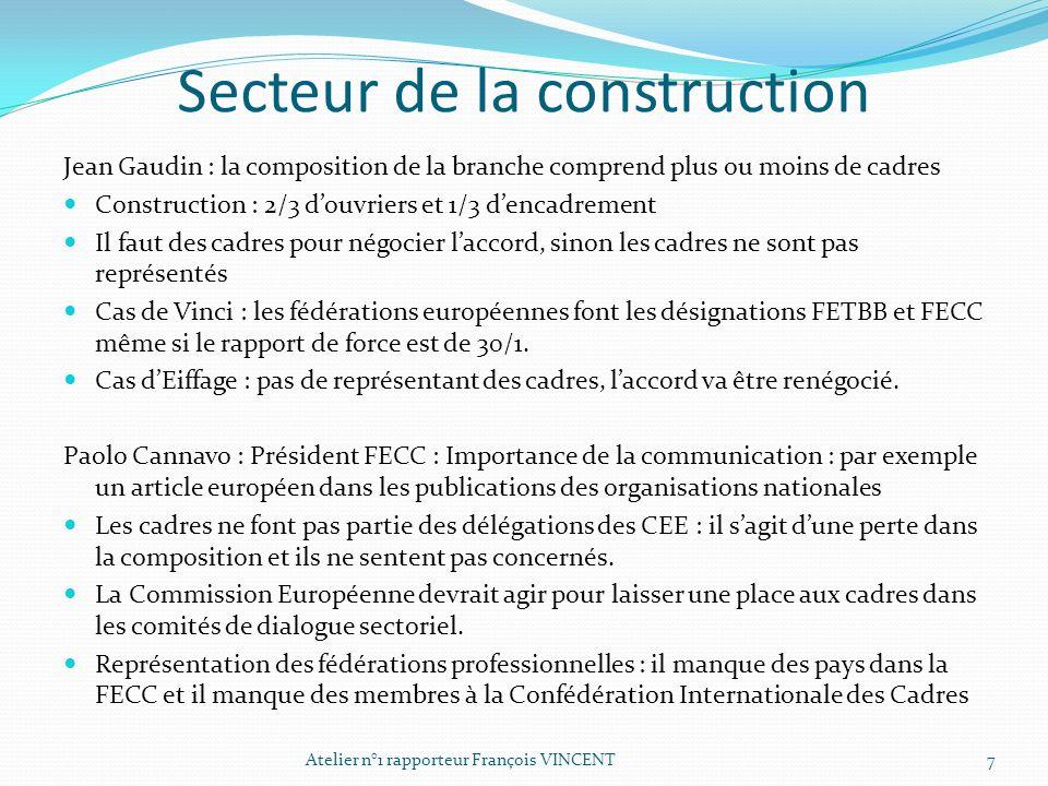Secteur de la construction Jean Gaudin : la composition de la branche comprend plus ou moins de cadres Construction : 2/3 douvriers et 1/3 dencadremen