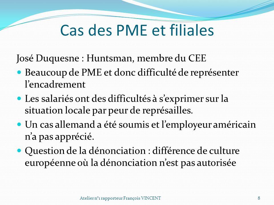 Cas des PME et filiales José Duquesne : Huntsman, membre du CEE Beaucoup de PME et donc difficulté de représenter lencadrement Les salariés ont des di