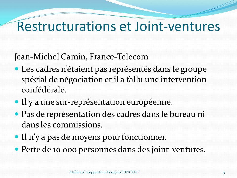 Restructurations et Joint-ventures Jean-Michel Camin, France-Telecom Les cadres nétaient pas représentés dans le groupe spécial de négociation et il a