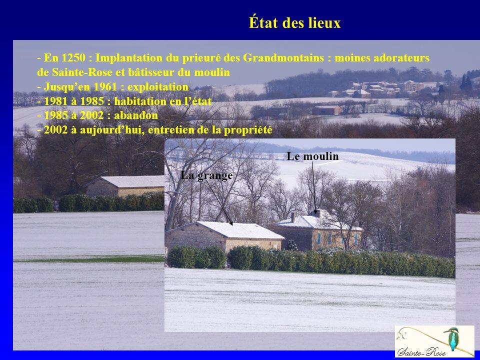 - En 1250 : Implantation du prieuré des Grandmontains : moines adorateurs de Sainte-Rose et bâtisseur du moulin - Jusquen 1961 : exploitation - 1981 à