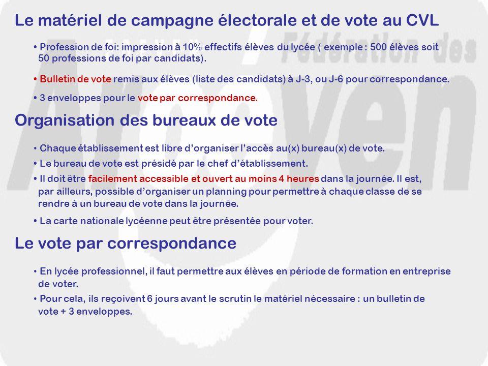 Le matériel de campagne électorale et de vote au CVL Profession de foi: impression à 10% effectifs élèves du lycée ( exemple : 500 élèves soit 50 prof