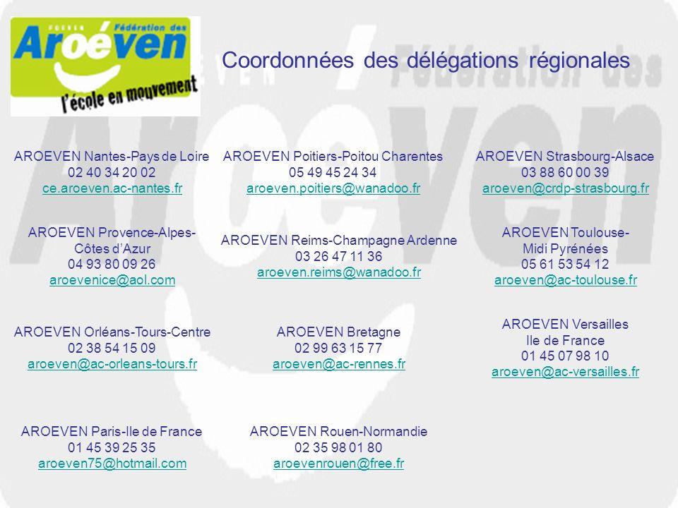 Coordonnées des délégations régionales AROEVEN Paris-Ile de France 01 45 39 25 35 aroeven75@hotmail.com AROEVEN Poitiers-Poitou Charentes 05 49 45 24