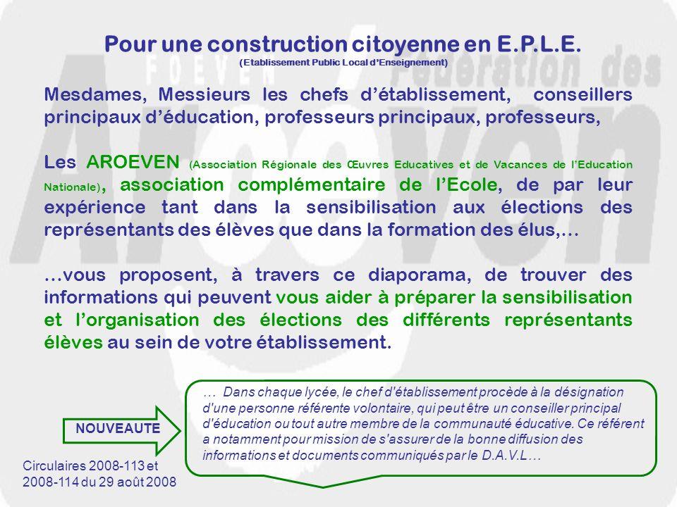 Pour une construction citoyenne en E.P.L.E. (Etablissement Public Local dEnseignement) Mesdames, Messieurs les chefs détablissement, conseillers princ