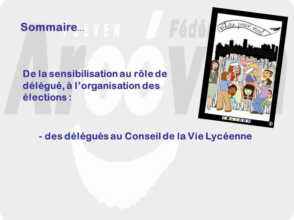 Sensibilisation au rôle de délégué et aux élections… Le planning légal du CVL Affichage de la liste électorale à J-15.
