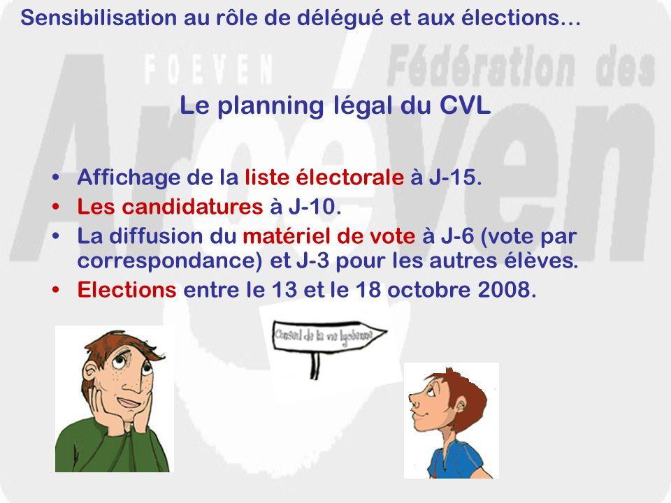 Sensibilisation au rôle de délégué et aux élections… Le planning légal du CVL Affichage de la liste électorale à J-15. Les candidatures à J-10. La dif