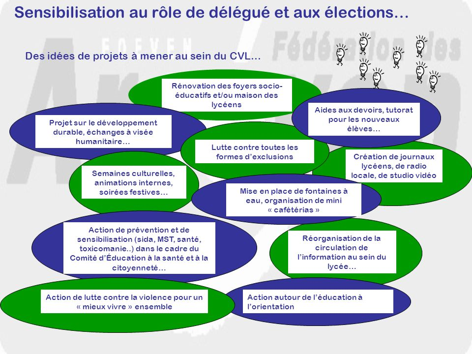 Sensibilisation au rôle de délégué et aux élections… Des idées de projets à mener au sein du CVL… Rénovation des foyers socio- éducatifs et/ou maison