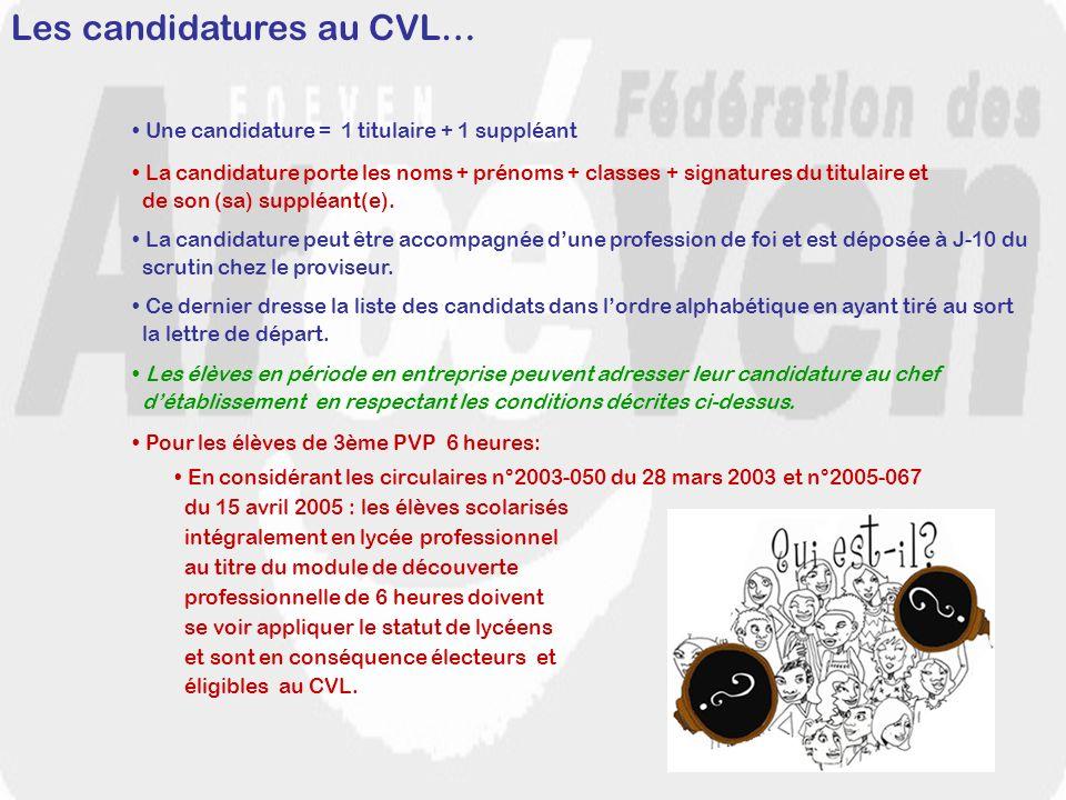 Les candidatures au CVL… Une candidature = 1 titulaire + 1 suppléant La candidature peut être accompagnée dune profession de foi et est déposée à J-10